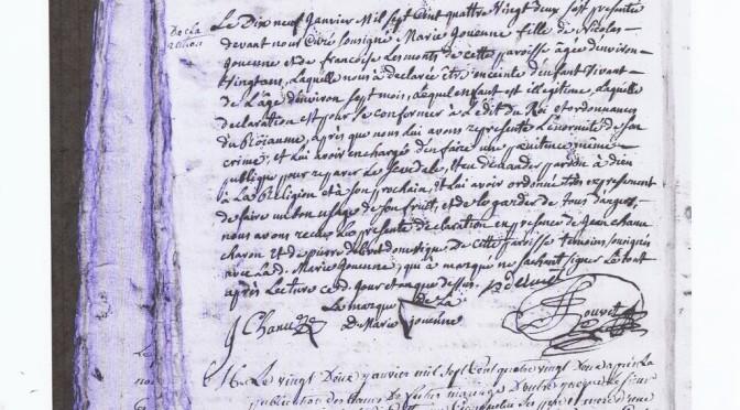 Une déclaration de grossesse en 1782