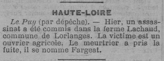 Un crime à Lorlanges….