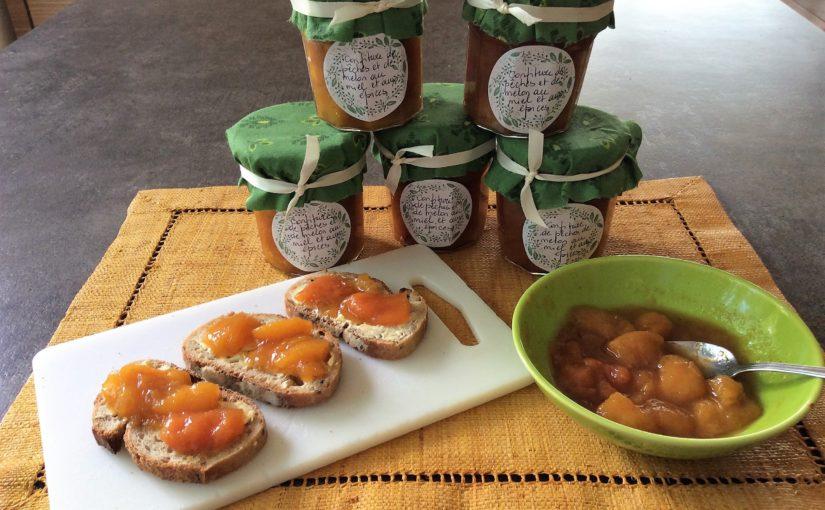 #MaCuisineAncestrale… Confiture de pêches et de melon au miel et aux épices…